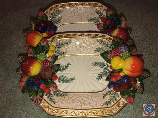 (2) Fitz and Floyd Fruit Trays