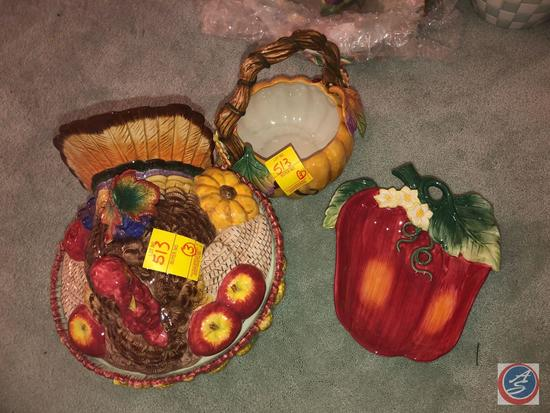 Fitz and Floyd Classics Turkey Cookie Jar, Fitz and Floyd Pumpkin Basket and Fitz and Floyd Classic