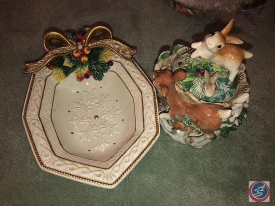 Fitz and Floyd Christmas Animals Candy Dish and Fitz and Floyd Holly Candy Dish