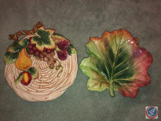 Fitz and Floyd Maple Leaf Tray and Fitz and Floyd Decorative Plate