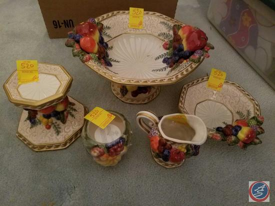 Fitz and Floyd Set Including Fruit bowl, Small Bowl, Candle Stick, Cream Pitcher and Votive Candle