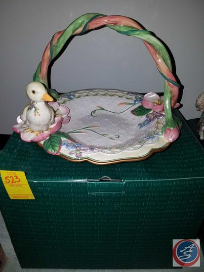 Fitz and Floyd Classics Garden Rhapsody Large Basket {{With Original Box}}