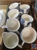 (2) Blue Willow China Creamer Dishes and (11) Blue Willow China Tea Cups