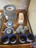 (8) Blue Willow China Saucers, (2) Blue Willow China Sugar Containers, (2) Blue Willow China Butter