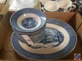 (2) Blue Willow China Platters and (12) Small Blue Willow China Bowls