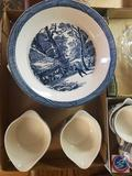 (4)Blue Willow China Soup Bowls, (2) Blue Willow China Pie Plates, (2) Blue Willow China Bowls