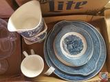 (2) Blue Willow China Tea Cups, (3) Blue Willow China Bowls and (2) Blue Willow China Platters