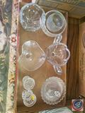(1) Small and (1) Medium Sized Glass with Crazing, Sugar Dishes, Ice Cream Dish, Candle Holders