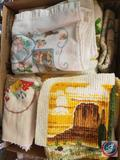 Assorted Placemats and Linens Such as Dish Clothes and Hand Towels and Hot Pad Holders