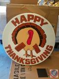 Vintage Thanksgiving Hanging Light Up Wall Sign, Large Bunny Wreath