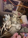 (3) Bunnies Lamps, Vase, Small Candy Dish