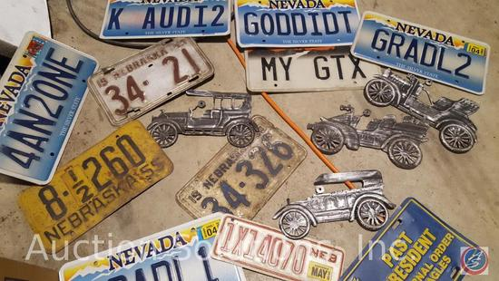 Approx. Ten [10+] Vintage Vanity License Plates and More