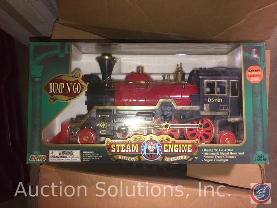 Bump-N-Go Battery Op Steam Engine Train in Original Box; and Great American Express Christmas Train