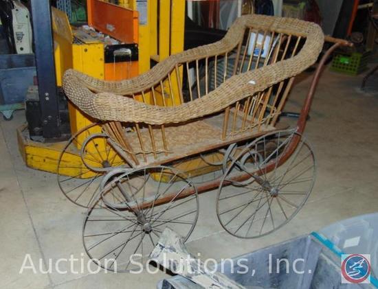 Antique Wicker Pram Baby Buggy w/ Steel Wheels