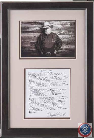 'Simple Man' Framed Song Lyrics Signed by Charlie Daniels