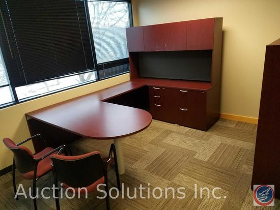 "Executive U Shaped 4 Piece Office Desk #1 72"" x 22"" x 30"" Piece #2 72"" x 14"" x 42 1/2"" with 4"