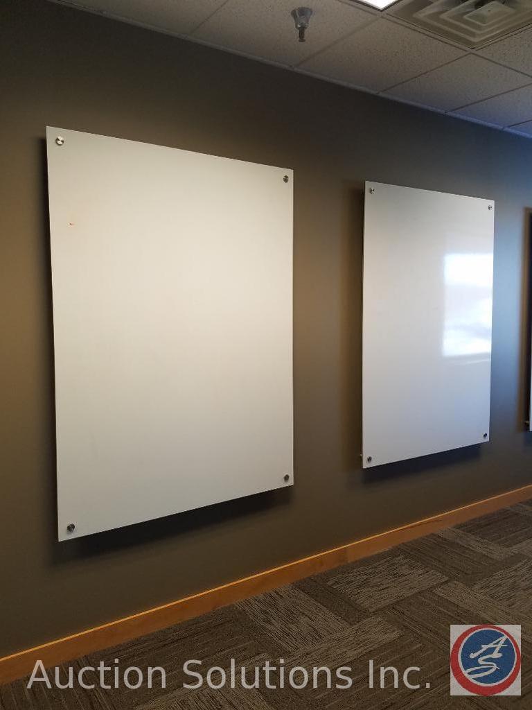 """(2) Large Wall Mounted Dry Erase Boards Estimated Size 60""""X48"""" (Buyer Must Remove) {{SOLD TWO TIMES"""