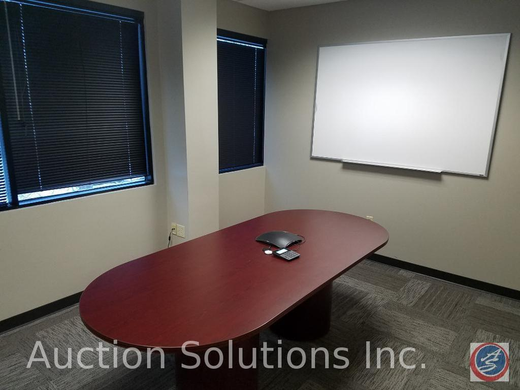 """Conference Table 96"""" x 42"""" x 29 1/2"""" {{CONTENTS OF TABLE NOT INCLUDED}}, (2) White Board Measuring"""