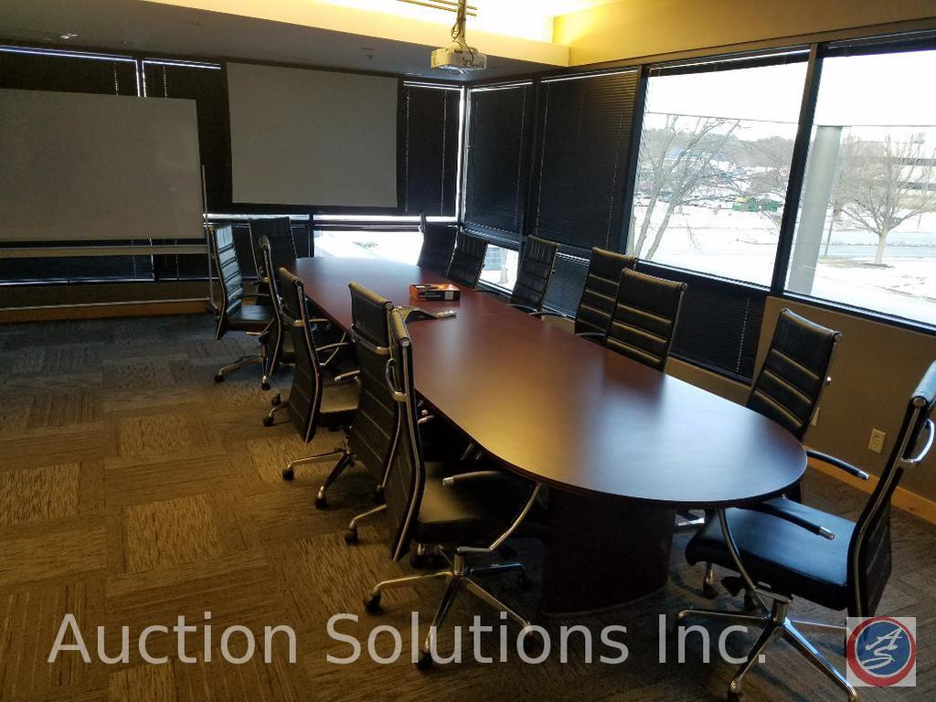 """Conference Table {{2 PIECES FOR TRANSPORT}}192"""" X 48"""" 30"""", (14) Rolling/Swiveling Office Chairs 45"""","""