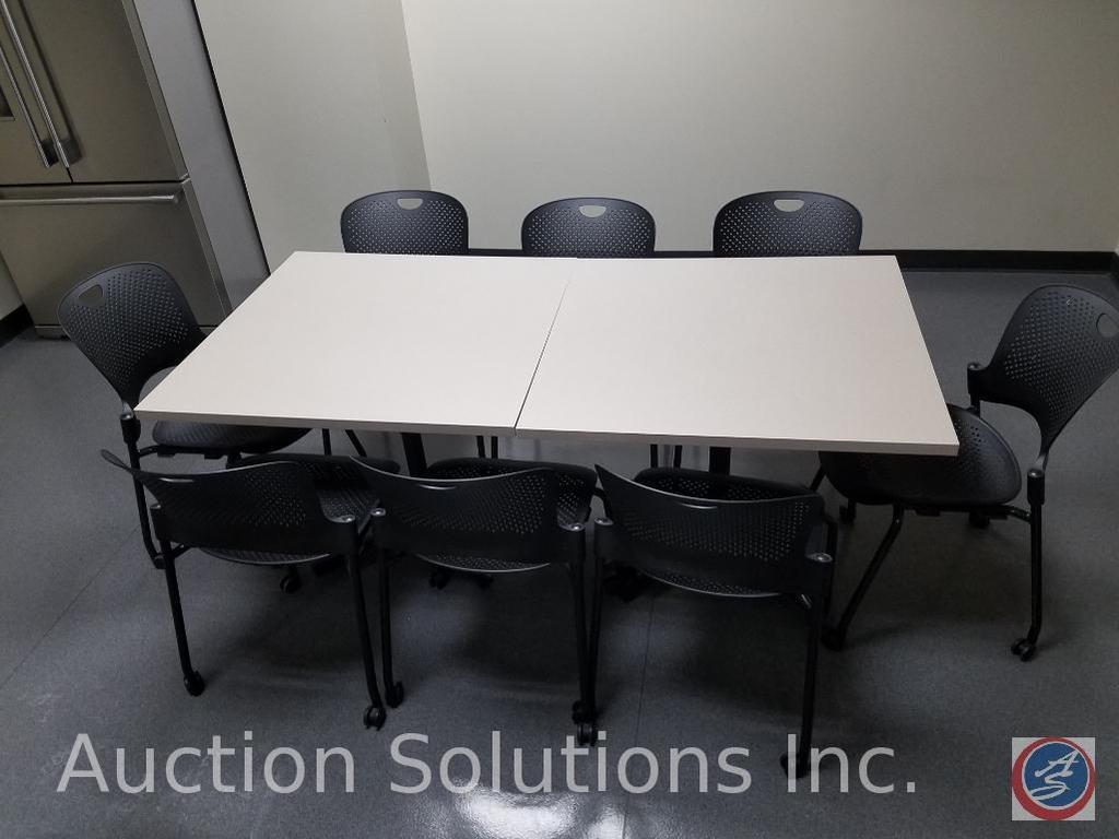 "(2) Herman Miller Pedestal Tables 36"" x 36"" x 28 1/2"", (8)Herman Miller Plastic Rolling Office Chair"