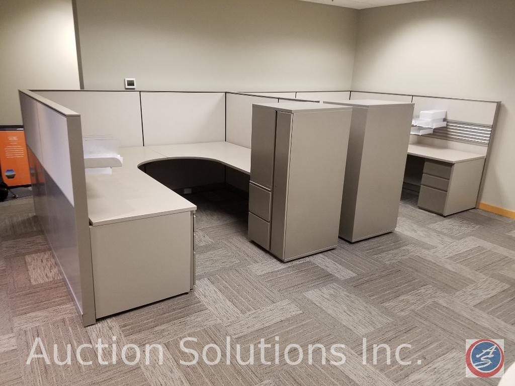 """9 Section of Cubicle Dividers Measuring: 49 1/2"""" x 57"""", Adjustable Height {{TWO TIMES THE MONEY}} 1"""