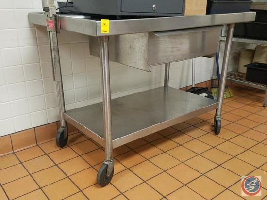"""Kemlee Manufacturing Stainless Steel Prep Table with Holding Drawer and Shelf on Casters 48"""" x 30"""" x"""