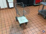 2 Basket Wire Cart on Wheels 17 1/2