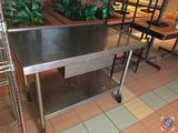 NSF Stainless Steel Prep Table with Drawer and Shelf on Casters 48