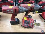 2 Milwaukee 18 volt 7/16 in Hex Drive Impact Wrenches with Batteries and One Charger. Model 9099-20
