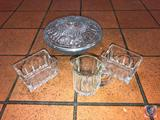 (3) Glass Candy Dishes with Lids, (1) Glass Candy Dish No Lid, Glass Sugar/Condiment Holders, Glass