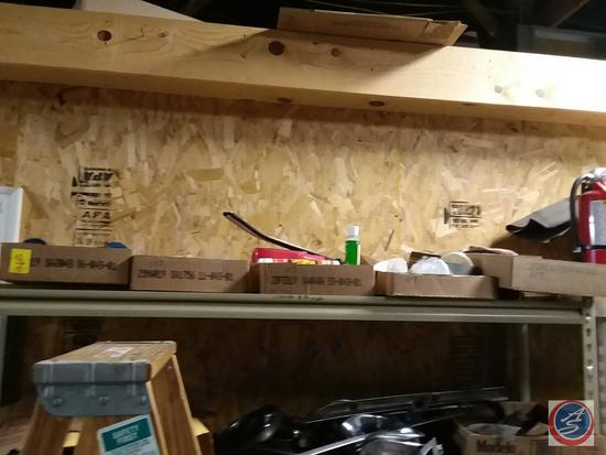 Contents of shelf including propane torches, automotive fluids and More