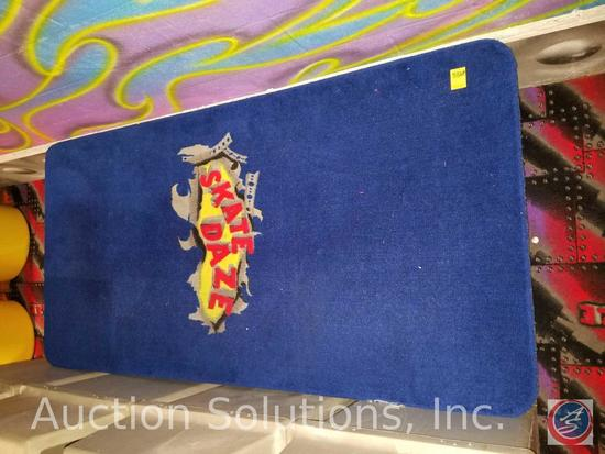 """Skate Daze Carpeted Rectangle Bench {{BOLTED TO FLOOR BUYER MUST REMOVE}} 74"""" x 35"""" x 18"""""""