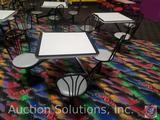 {{2XBID}} (2) Plymold 4-Seat Jupiter Cafeteria Clusters w/ 3 ft. Square Tables and Round Metal