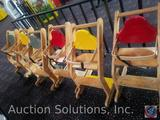 {{5XBID}} (6) Wooden and Plastic High Chairs {{ONE CHAIR HAS BROKEN BACK}}