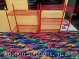 {{2XBID}} (2) Metro Brand Red Coated Steel Wire Rolling Racks; One is Two-Tiered 35 1/4