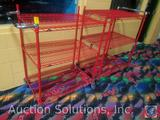 {{2XBID}} (2) Metro Brand Three Tiered Red Coated Steel Wire Rolling Racks 35 1/4
