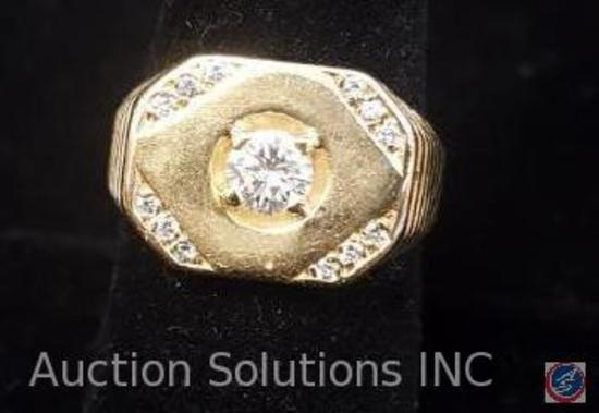 Men's Yellow Gold Ring Stamped 14K With 12 Full Cut Melee Diamonds of approx. .71 Carats {{INCLUDES