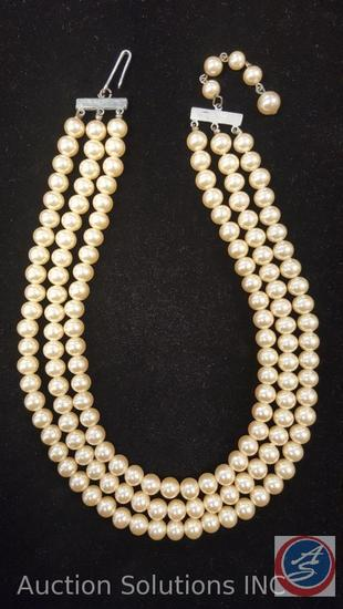La Tausca Pearl Necklace 3 Tier, 12in Long