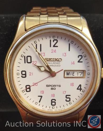Gold Seiko Watch, Railroad Approved, Sports 50, MOV T JAPAN 7943-9A7W R 2, Water Resistant 5 Bar.