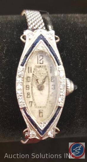 Art Deco Dione Watch with White Gold Casing, Framed in Diamond and Sapphire Stones, 18 k (15 jewels)