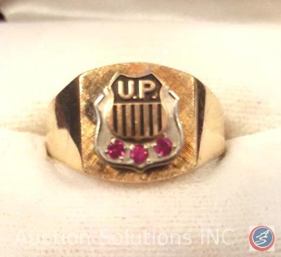 10K Gold Union Pacific Men's Gold Ring With 3 Ruby Gemstones