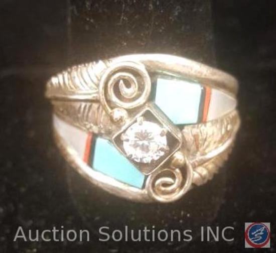 Sterling Silver Men's Ring With Turquoise and Mother of Pearl Inlay