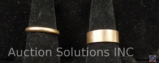 Two Gold Rings, 14k Thin Gold Band 3.8g ,10k Thick Gold Band 6.3g