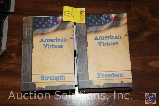 (2) American Virtues Collector's Knives: Freedom and Strength Both In Original Box with Certificate