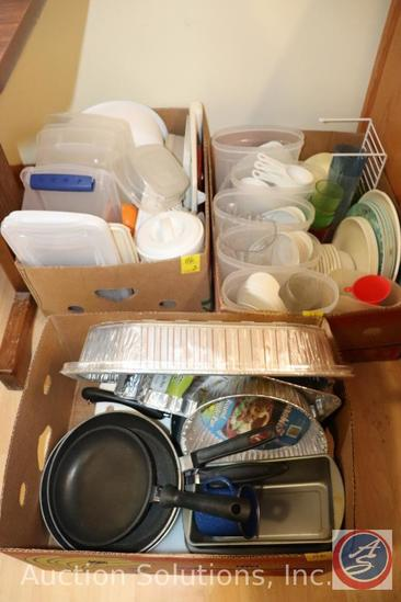 Assorted Dinner Plates, Bowls, Tupperware, Tin Baking Pans, Frying Pans, More