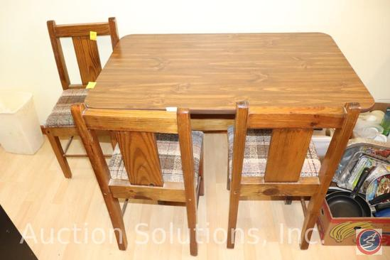 "Dining Table with (4) Wooden and Upholstered Chairs Table is 48"" x 30"" x 30"", Chairs Stand 34"""