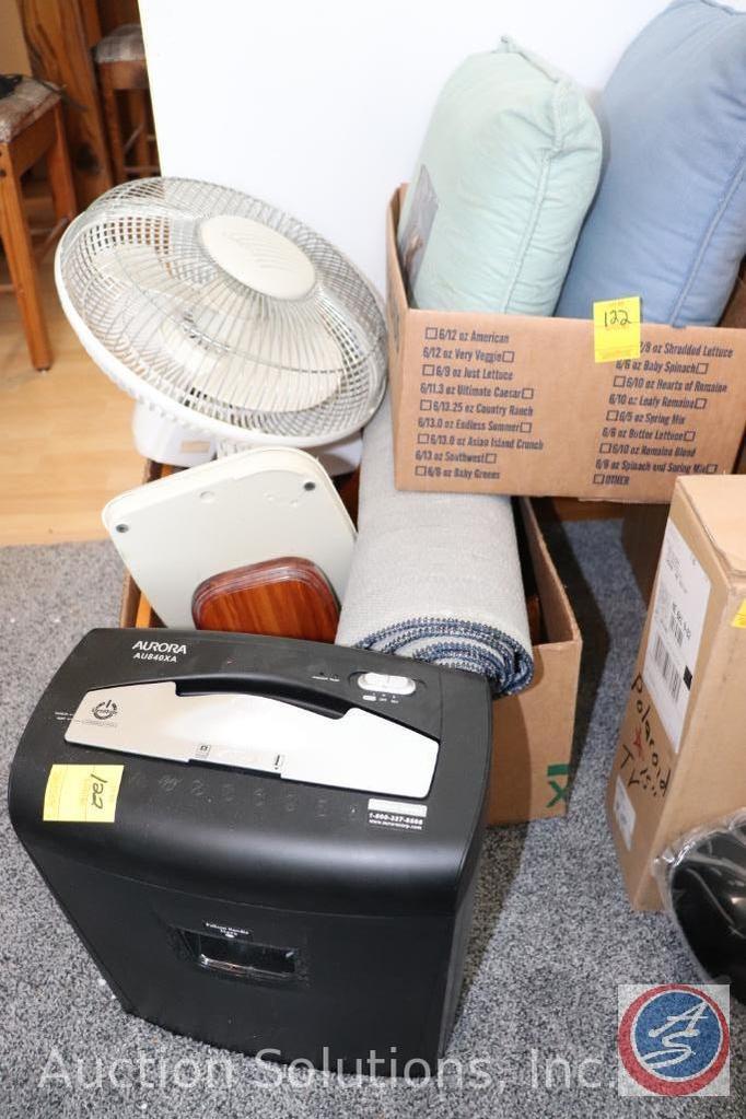 (2) Throw Pillows, Aurora Paper Shredder, Lasko Oscillating Fan, Wooden Floating Shelves