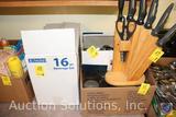 Anchor 16 Pc. Beverage Set, Knife in Wood Block Set, Assorted Glasses, Utensils