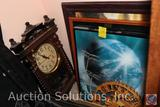 (3) Framed Prints, Wooden Eagle Wall Hanging, Plastic Clock, Mirror