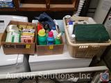 Assorted Light Bulbs, Assorted Partially Used Cleaning and Laundry Supplies, Towels, Toilet Paper